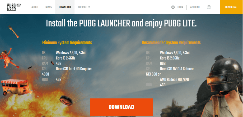 PUBG Pc Lite specifications